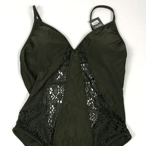 Women's Mossimo Crochet Green Swimsuit Small